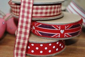 Ribbon - red gingham woven check