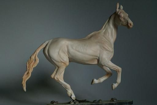 Resin:  Ekemen  Traditional Akhal-Teke Stallion sculpted by Laila L. Mampell  http://www.patch-of-heaven.de/frameset.html  Color:  Cremello  Painter:  Gudrun Schmitt  http://www.horsingaround.com
