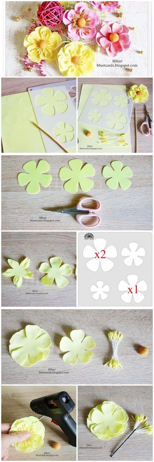 Tutorial Bbart Foamiran Flowers With Stencil 01 Foam Flowers Paper Flowers Flower Crafts