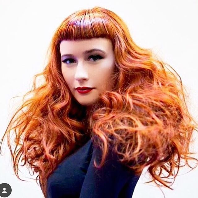 Wide fringe + long waved layers + another red hot hue = mind blown. #SebastianWNA CRED: @hairdemarco