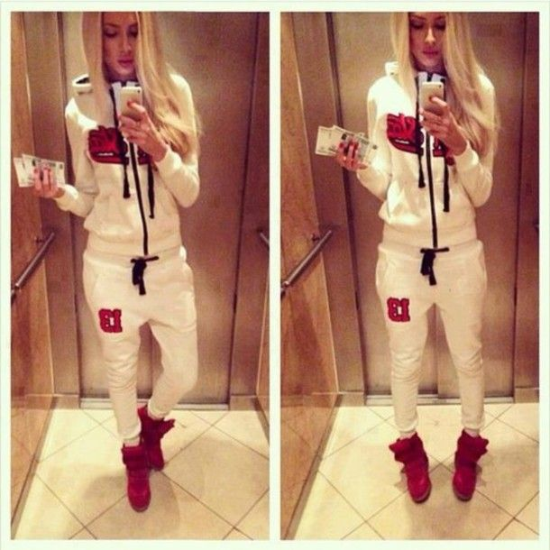 pants dress joggingpants sporty style white coat red blonde girl ...
