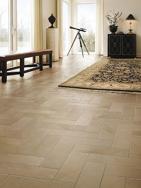Long Plank Like Porcelain Tiles Are Set In A Herringbone