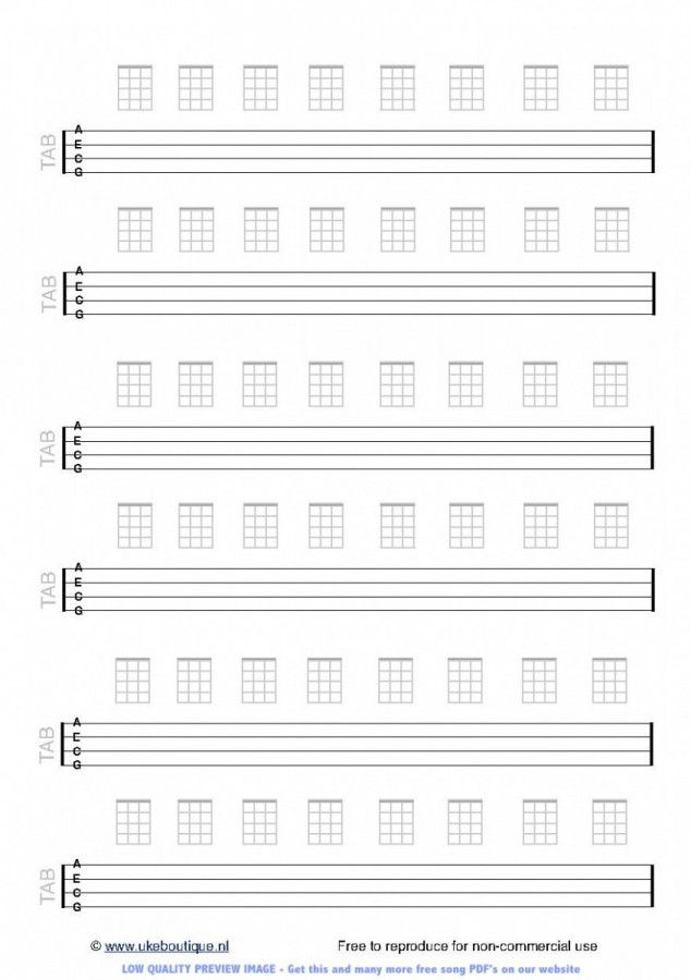 Blank TAB / chord paper for ukulele : Ukulele : Pinterest : Guitars, Ukulele tabs and Ukulele songs