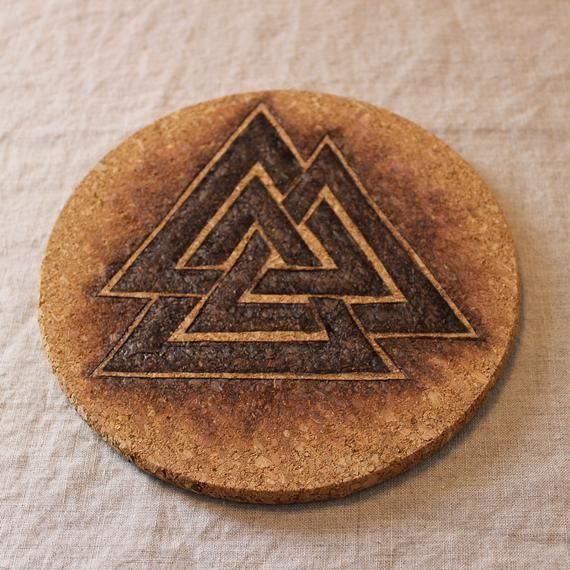 The Valknot, hand-burned cork trivet. Viking/Norse Symbol ...