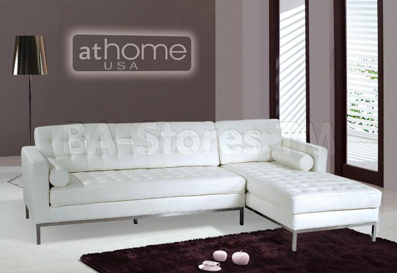 White Leather Sectional Sofa With Metal Legs Athomeusa Sofas