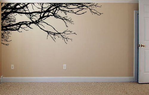 """Amazon.com: Stickerbrand Nature Vinyl Wall Art Tree Top Branches Wall Decal Sticker - Black, 53"""" x 120, """" Left to Right. Easy to Apply & Removable."""