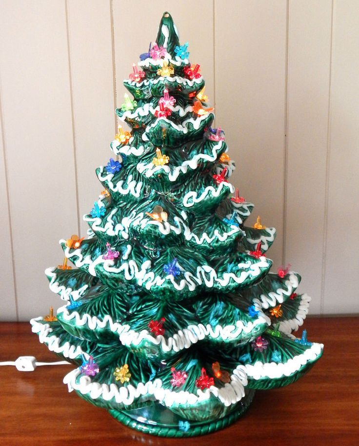 VINTAGE CERAMIC 4PC LIGHTED LARGE FLOCKED CHRISTMAS TREE W/MULTI-COLOR  LIGHTS - VINTAGE CERAMIC 4PC LIGHTED LARGE FLOCKED CHRISTMAS TREE W/MULTI