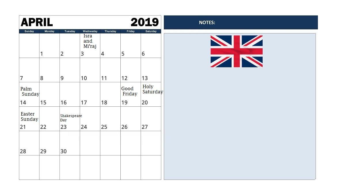 April 2019 Uk Holidays Calendar April April2019