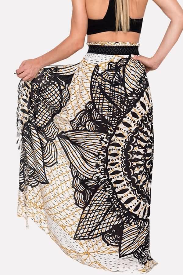 3679ddbe93 Women Black Boho Print High Slit Fringe Casual Beach Skirt Cover Up - S