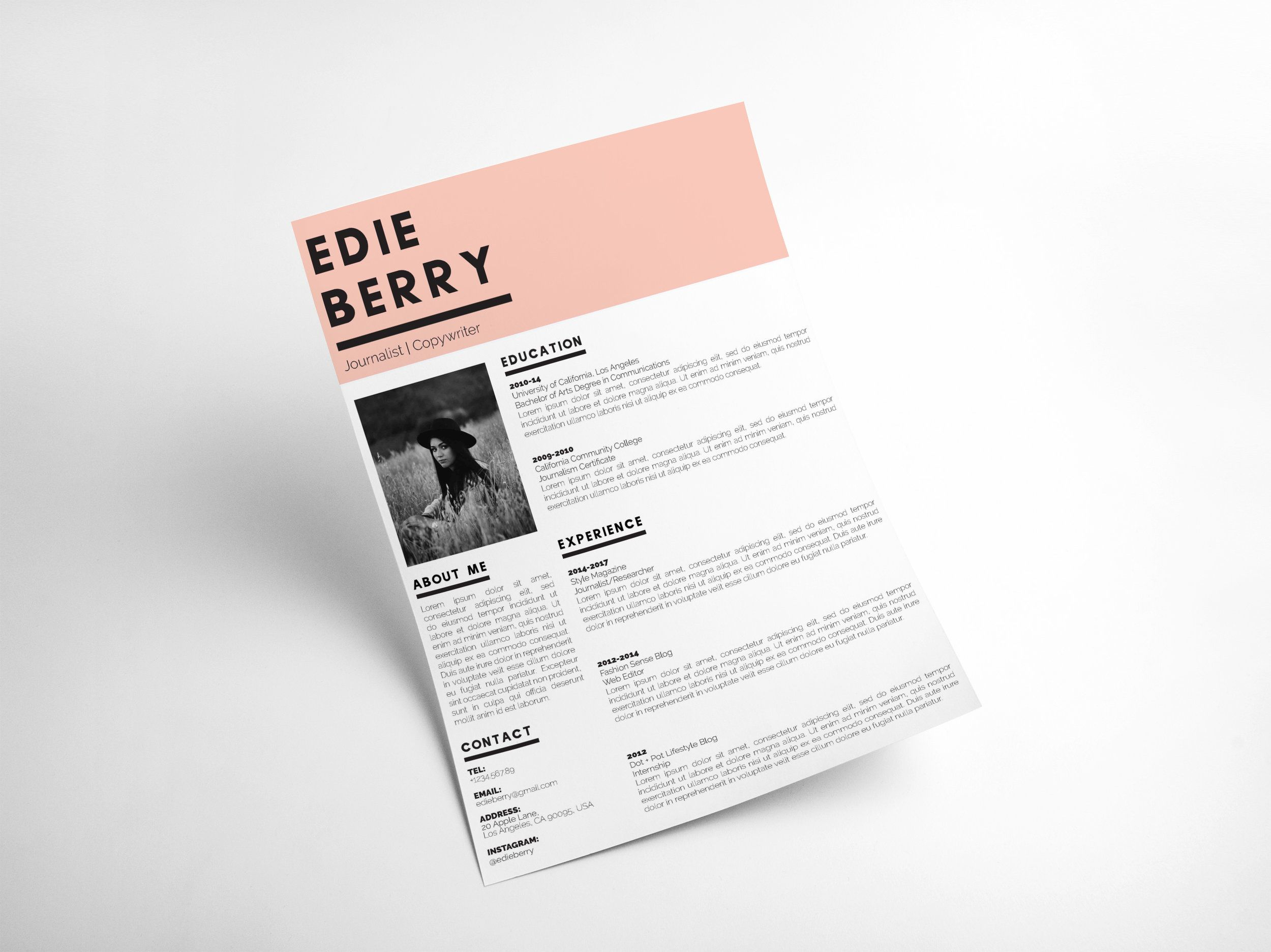 The Edie - Modern Resume Template for creatives | Modern CV | Cool ...