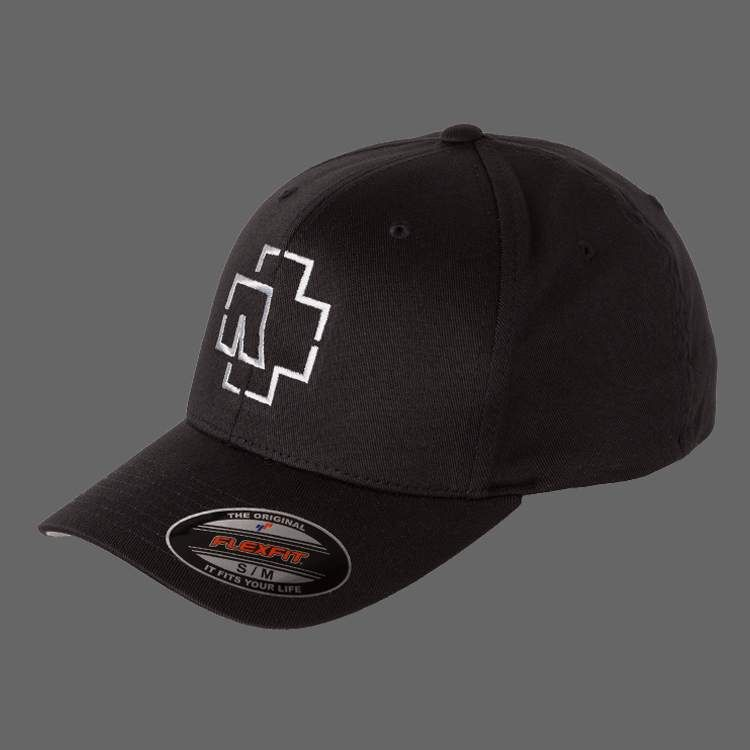 Black Flexfit Cap With White Rammstein Logo Embroidery Material 63 Polyester 34 Cotton 3 Elasthane Cap Logo Rammstein Rammstein Logo