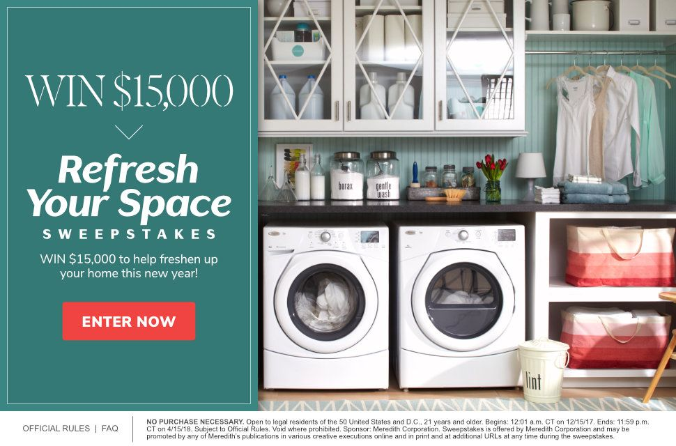 Refresh Your Space $15,000 Sweepstakes 2017 | Laundry and