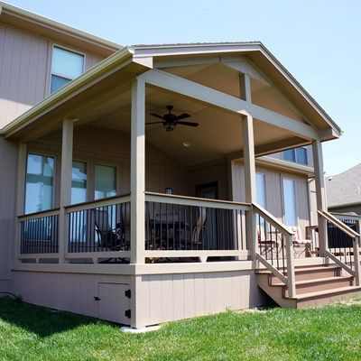 Gable Roof Porch No Screen With Timbertech Terrain Decking And