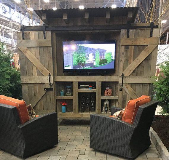 reclaimed wood rustic outdoor tv