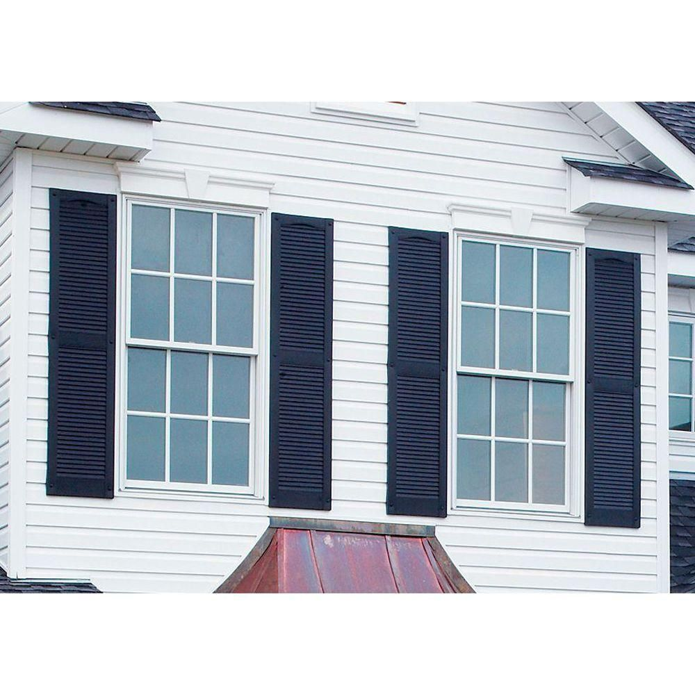 Louvered Vinyl Exterior Shutters Pair In 002 Black 010120031002 The Home Depot
