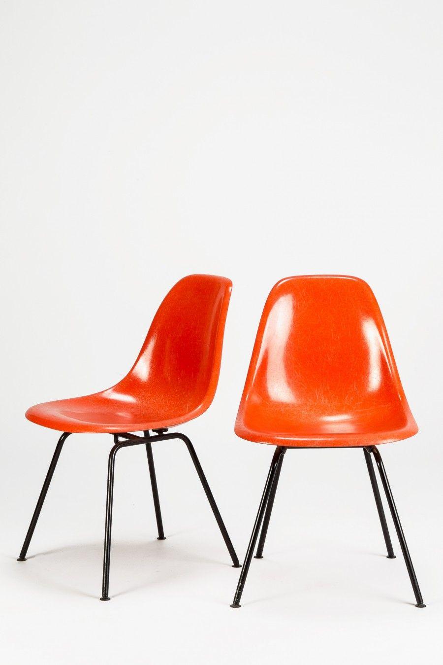 Set Of 8 Eames H Base Chairs Eames Orange Eameschairs Eames Design Mobilier Mobilier De Salon Et Chaise