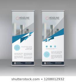 blue roll up banner stand brochure flyer vertical template design