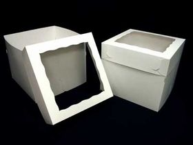 1250x1251 12 X 12 X 10 White White Lock Tab Box Set With Window 50 Count Box Cake Cake Decorating Supplies Giant Cupcake Cakes
