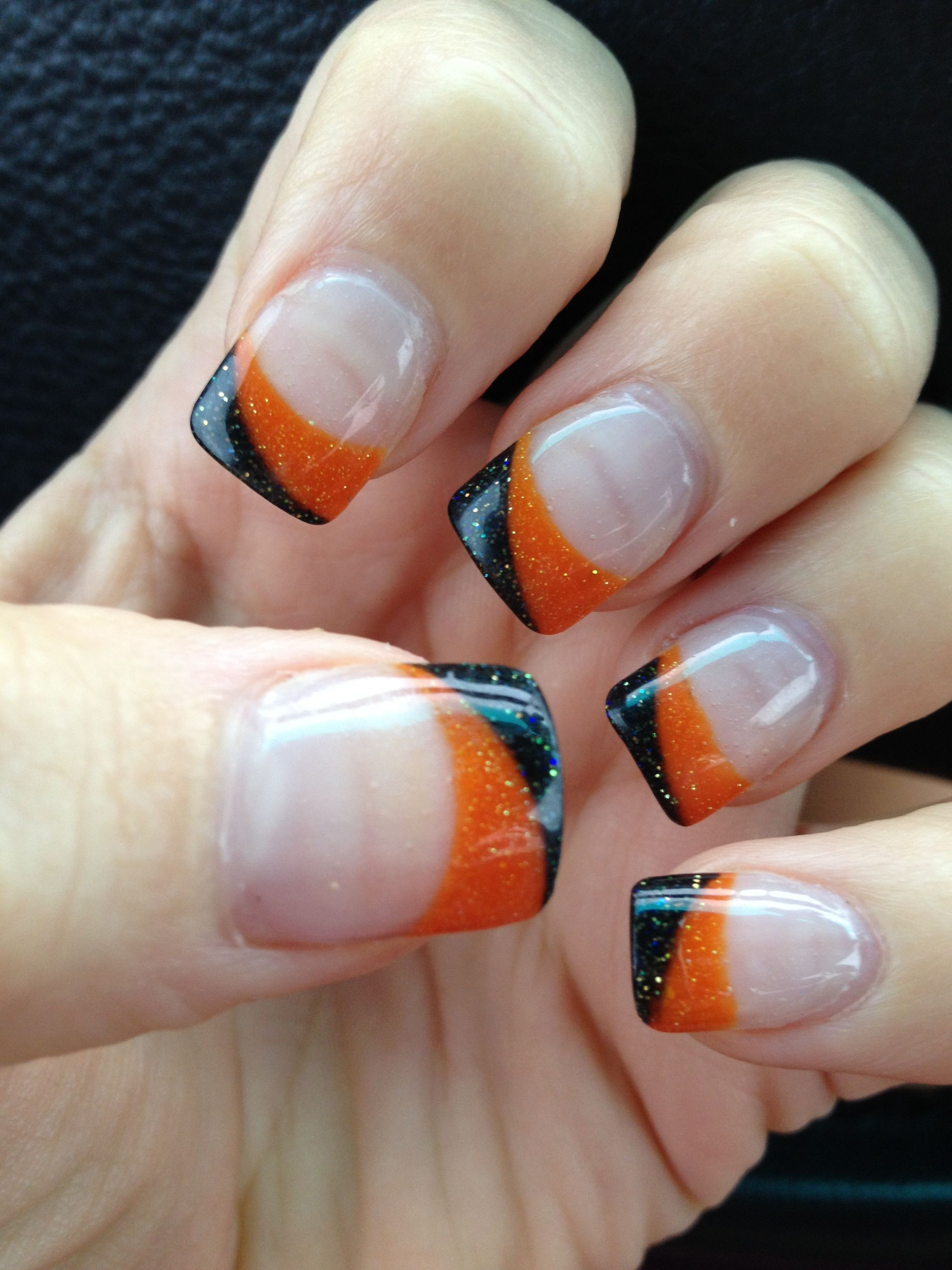 Halloween acrylic nails. Black, orange, sparkley