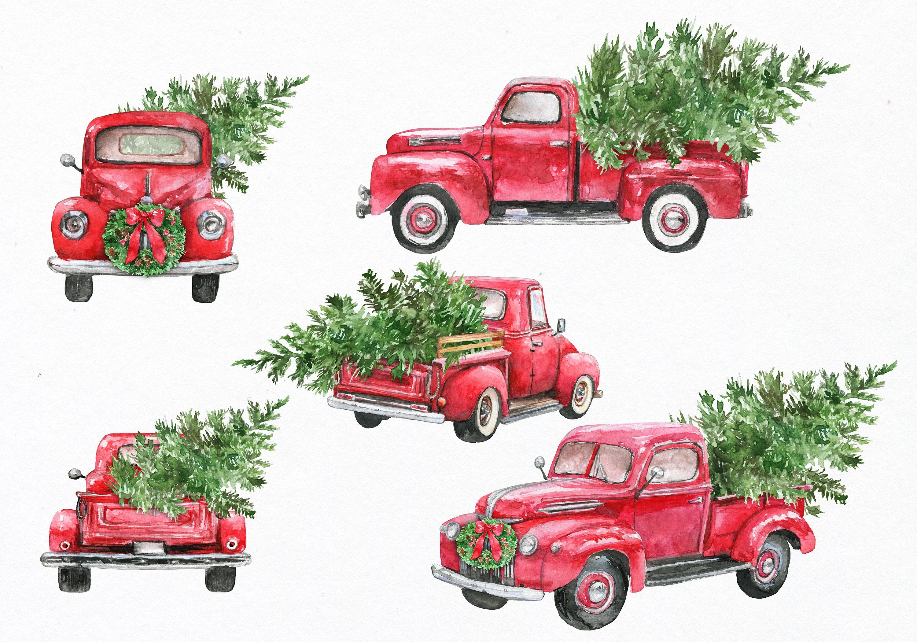 Red Truck Clipart Watercolor By Ephrazydesign On Creativemarket Christmas Truck Christmas Red Truck Christmas Tree Painting