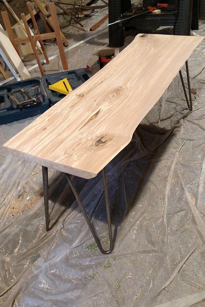 Diy Live Edge Wood Bench With Hairpin Legs Live Edge Wood Hairpin Legs And Bench