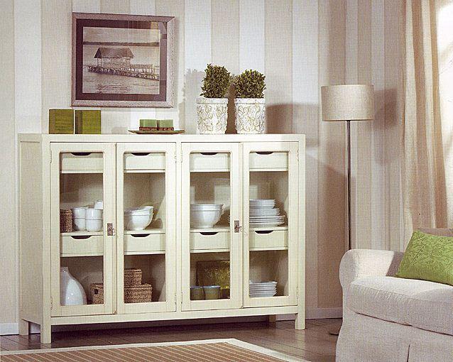 Aparador borneo cristal blanco muebles coloniales y for Muebles coloniales blanco
