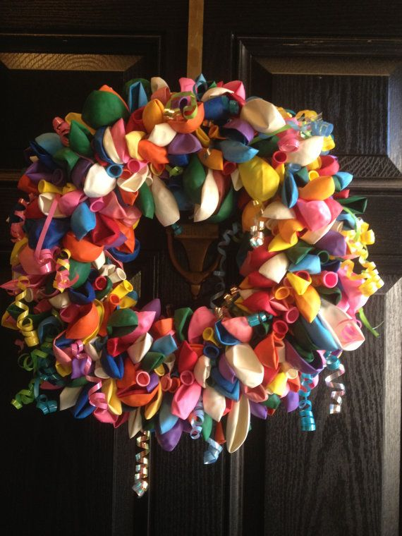 Happy Birthday Balloon Wreath by craftingcreations4u on Etsy, $45.00