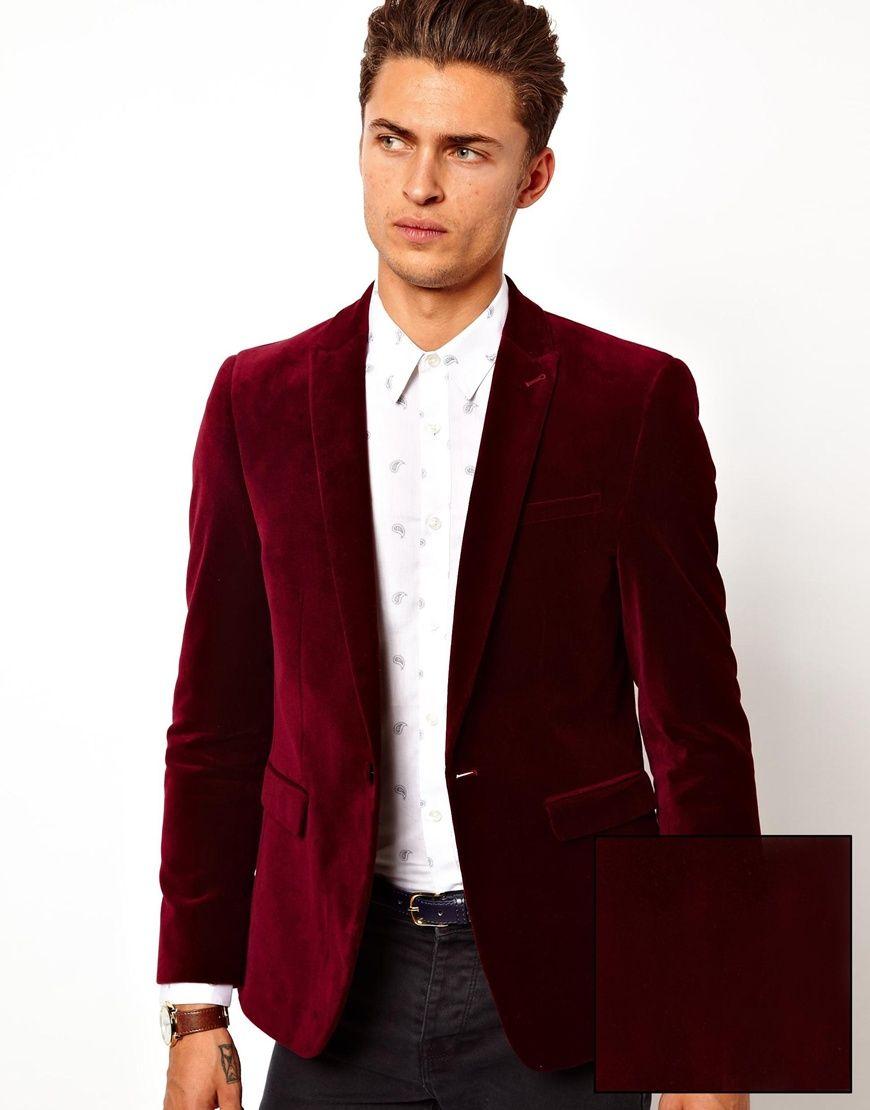ASOS Slim Fit Blazer In Velvet