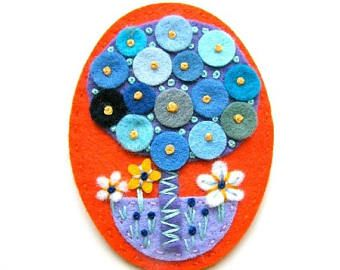 50% Sale Tree felt brooch with freeform embroidery