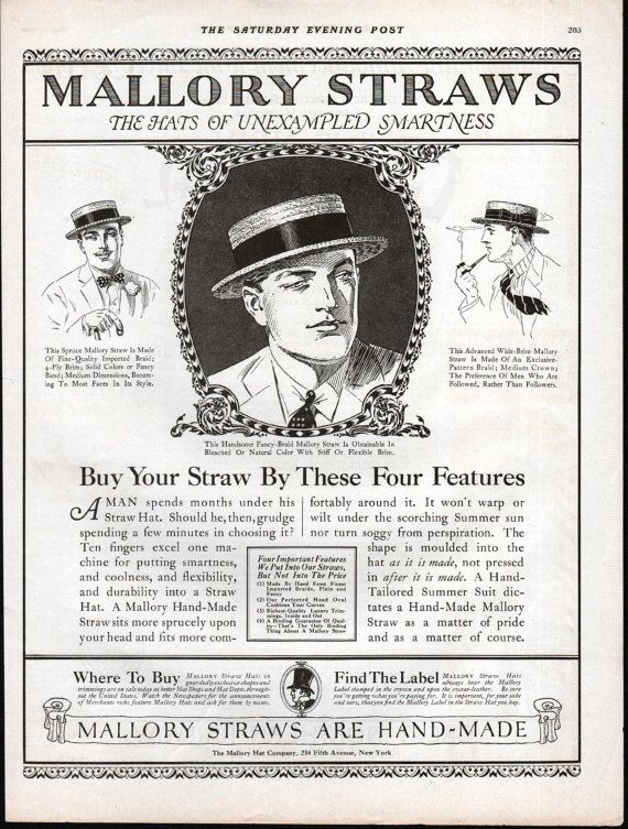 Mallory Straw Had Ad Mallory Hat Company by SkippiDiddlePaper