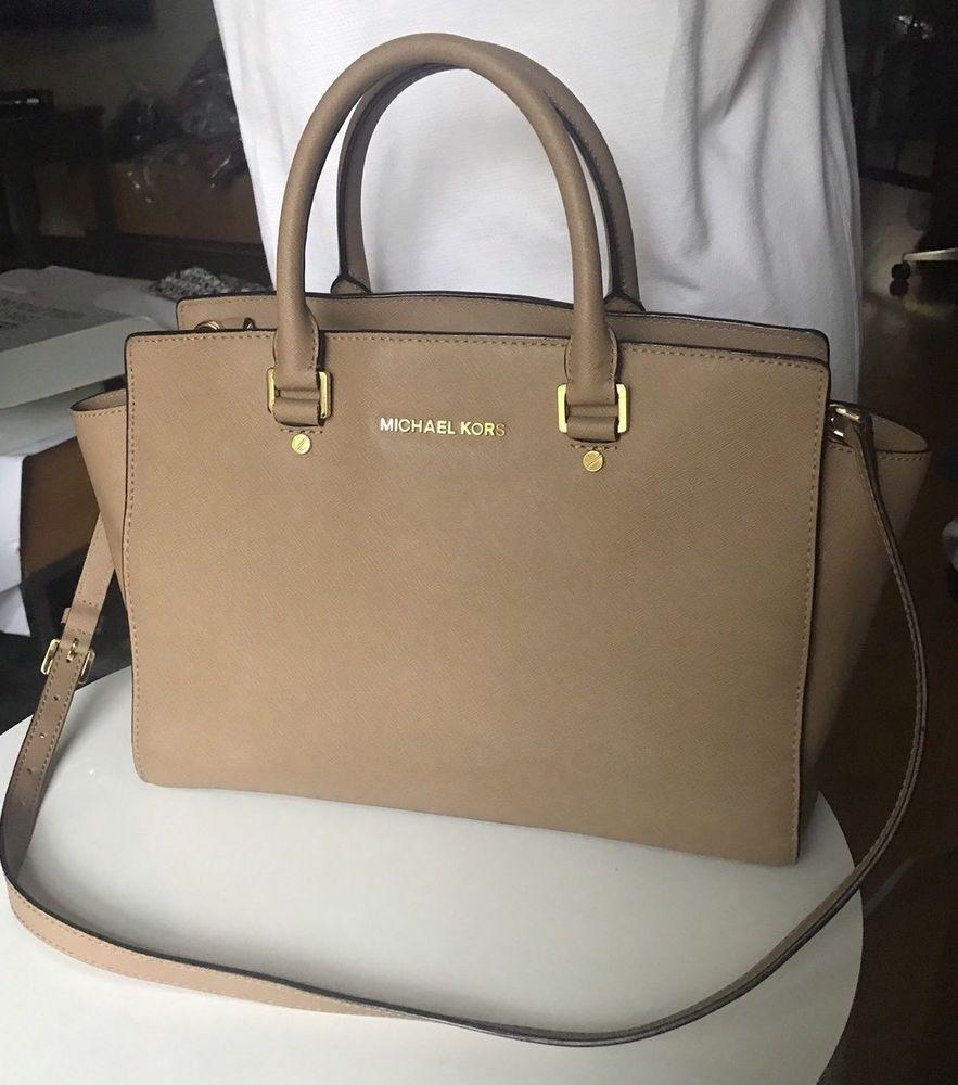 24c291583f88 fashion MICHAEL Michael Kors Selma Medium Saffiano Leather Satchel Handbag  Tote Truffle
