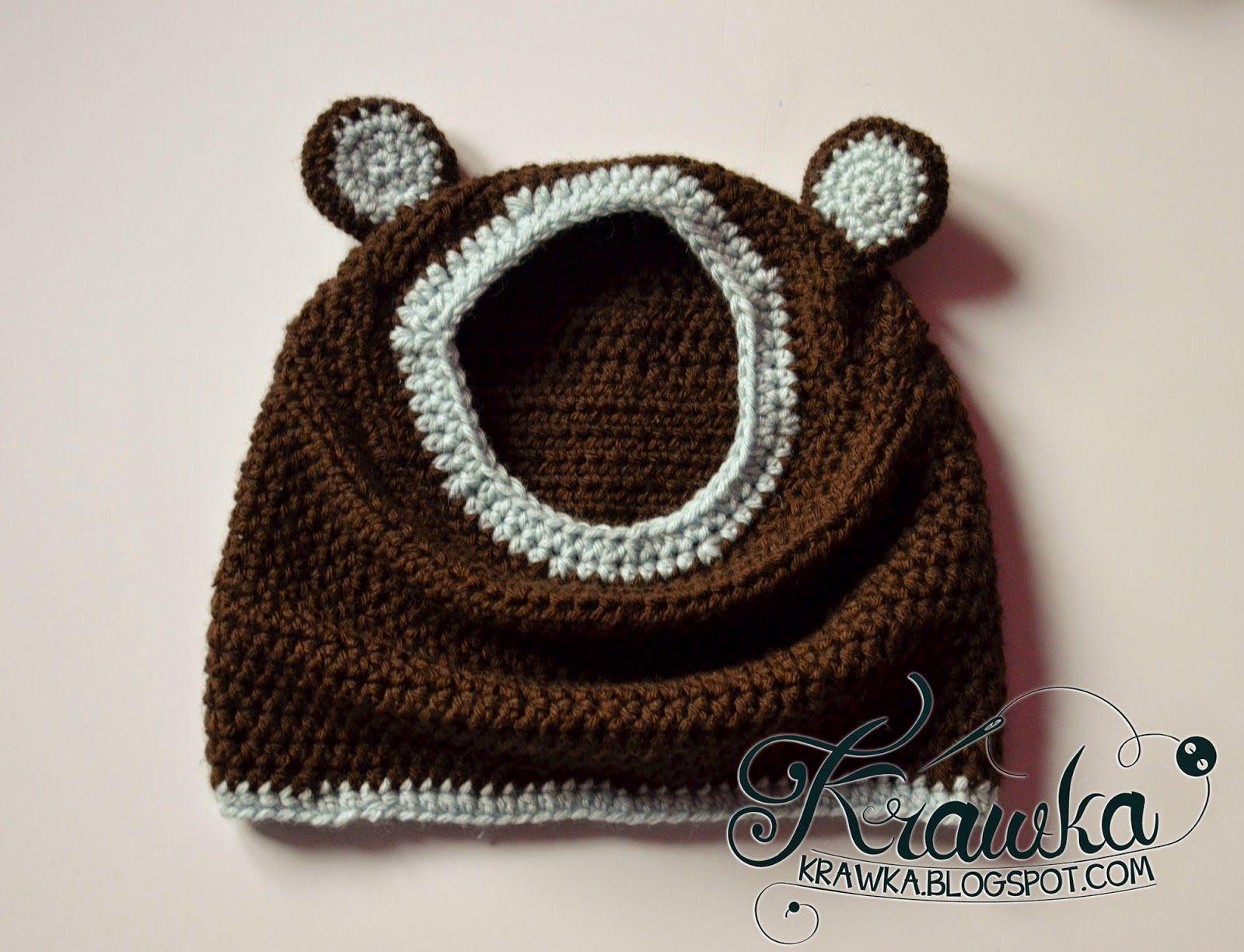 Krawka Little Bear Hooded Cowl Free Crochet Pattern Brown Bear