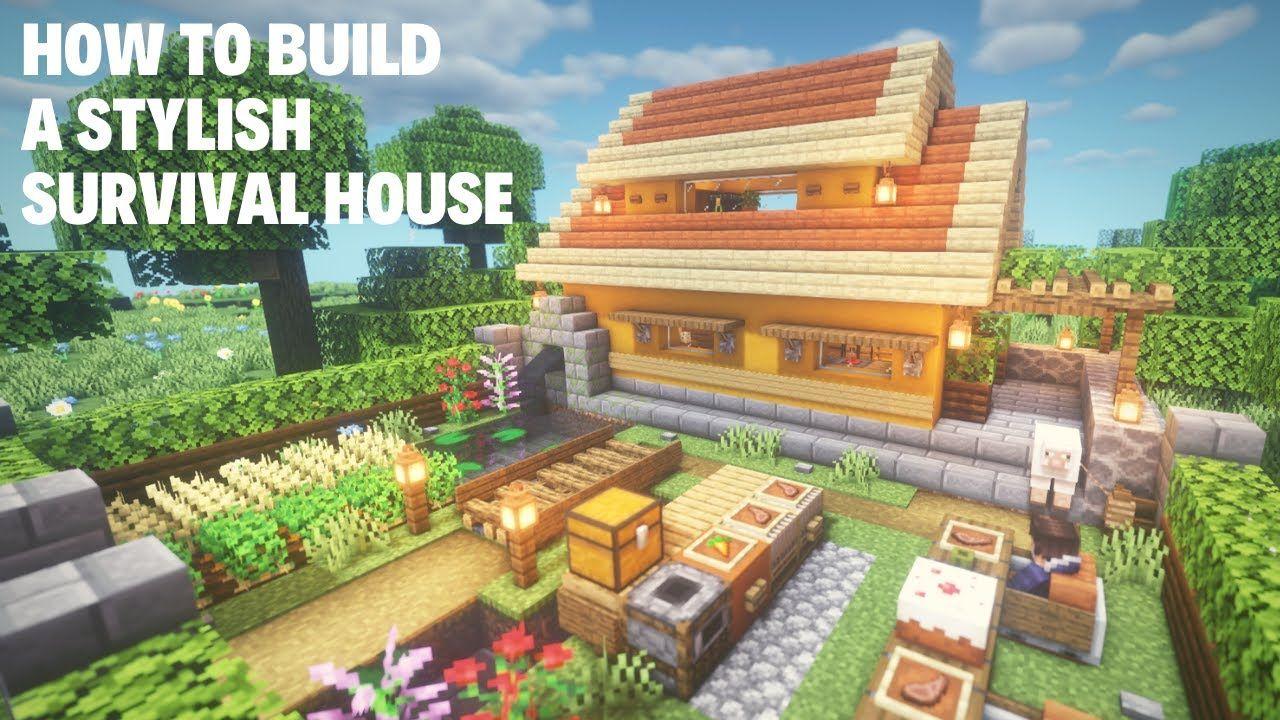 Minecraft A Stylish Survival House マインクラフト 建物 イラスト マイクラ 建築