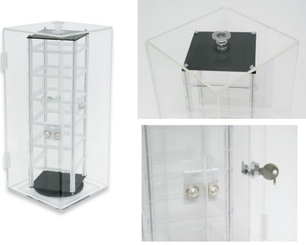 Locking Acrylic Earring Display Rack 48pr Revolving Jewelry Holder Free Bonus