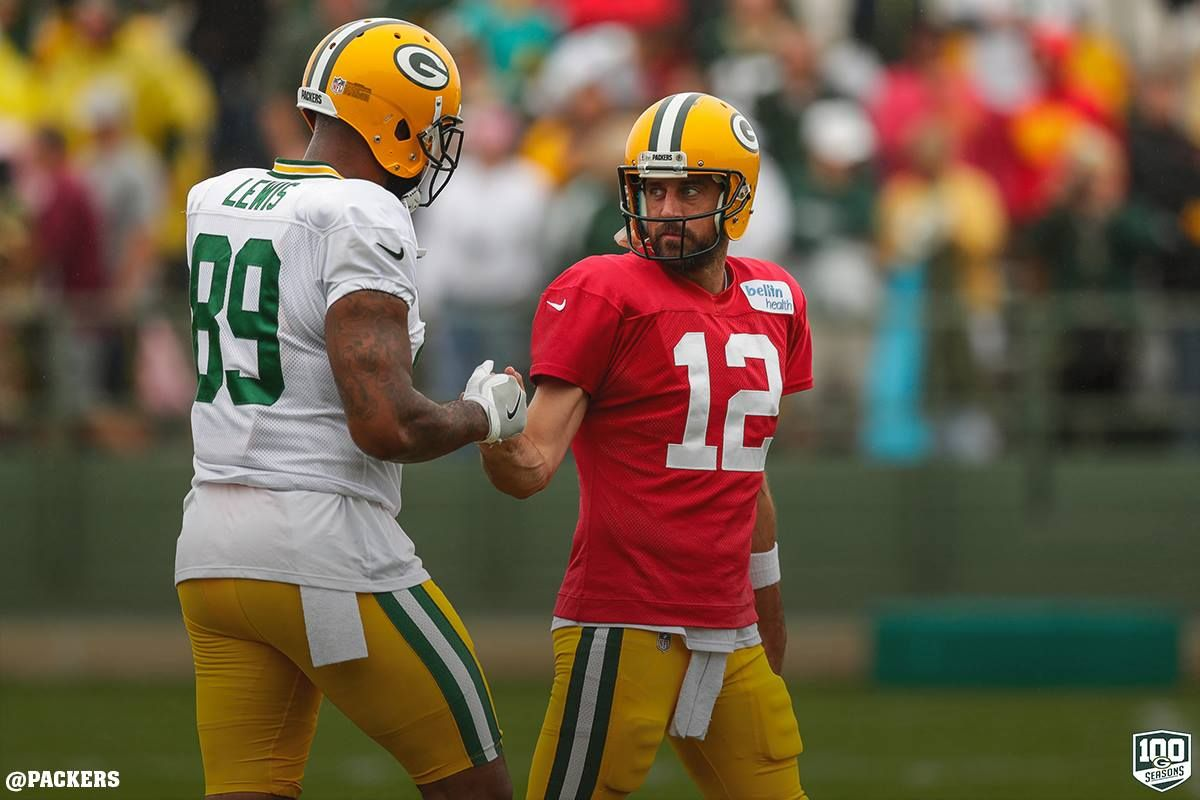 Marcedes Lewis And Aaron Rodgers