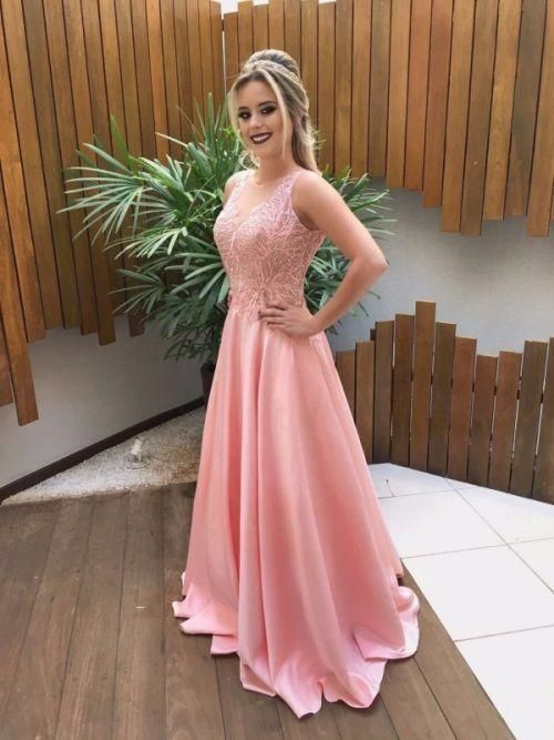 V Back Pink Prom Dress with Lace