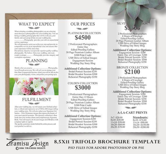 Welcome Free Templates For Photoshop: Wedding Photography Guide Template, Trifold Brochure