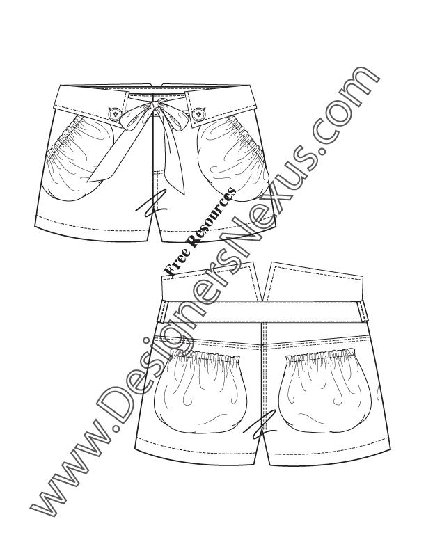 Flat Fashion Sketch Template Garment Detailing Description Folded