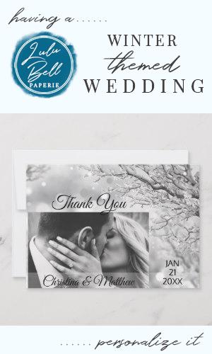 Winter Wonderland Wedding Vielen Dank FOTO | Zazzle   – Winter Wedding Invitations, Decor, Ideas, Bridesmaid Dresses, Floral Bouquets, Centerpieces, and Christmas Wedding Color Palettes