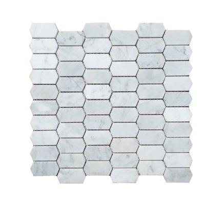 Mulia Tile Honeycomb Honed 1 X 2 Marble Mosaic Tile Color Carrara White Mosaic Tiles Marble Mosaic Stone Mosaic Tile