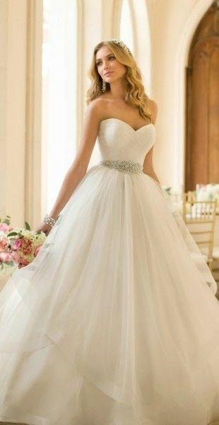 clásico vestido de novia corte princesa para resaltar toda la noche
