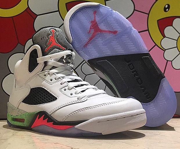 b0760890d22 Air Jordan 5 Retro - White - Infrared 23 - Light Poison Green - Black