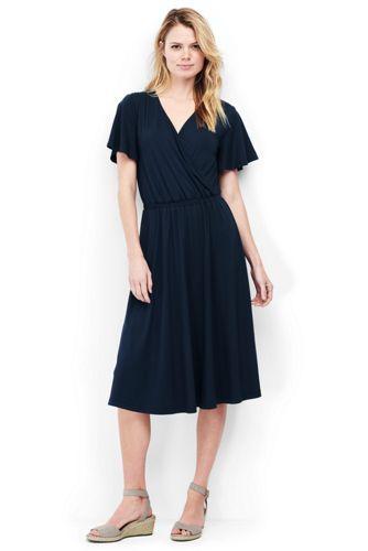 Womens Petite Short Sleeve Jersey Summer Dress - 10 -12 - Green Lands End fskeqgOi
