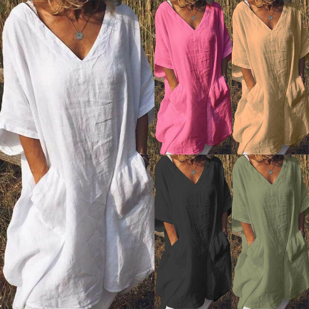 Übergröße Damen Longshirt Tunika Minikleid Sommer Shiftkleid Hemdkleid Longtop