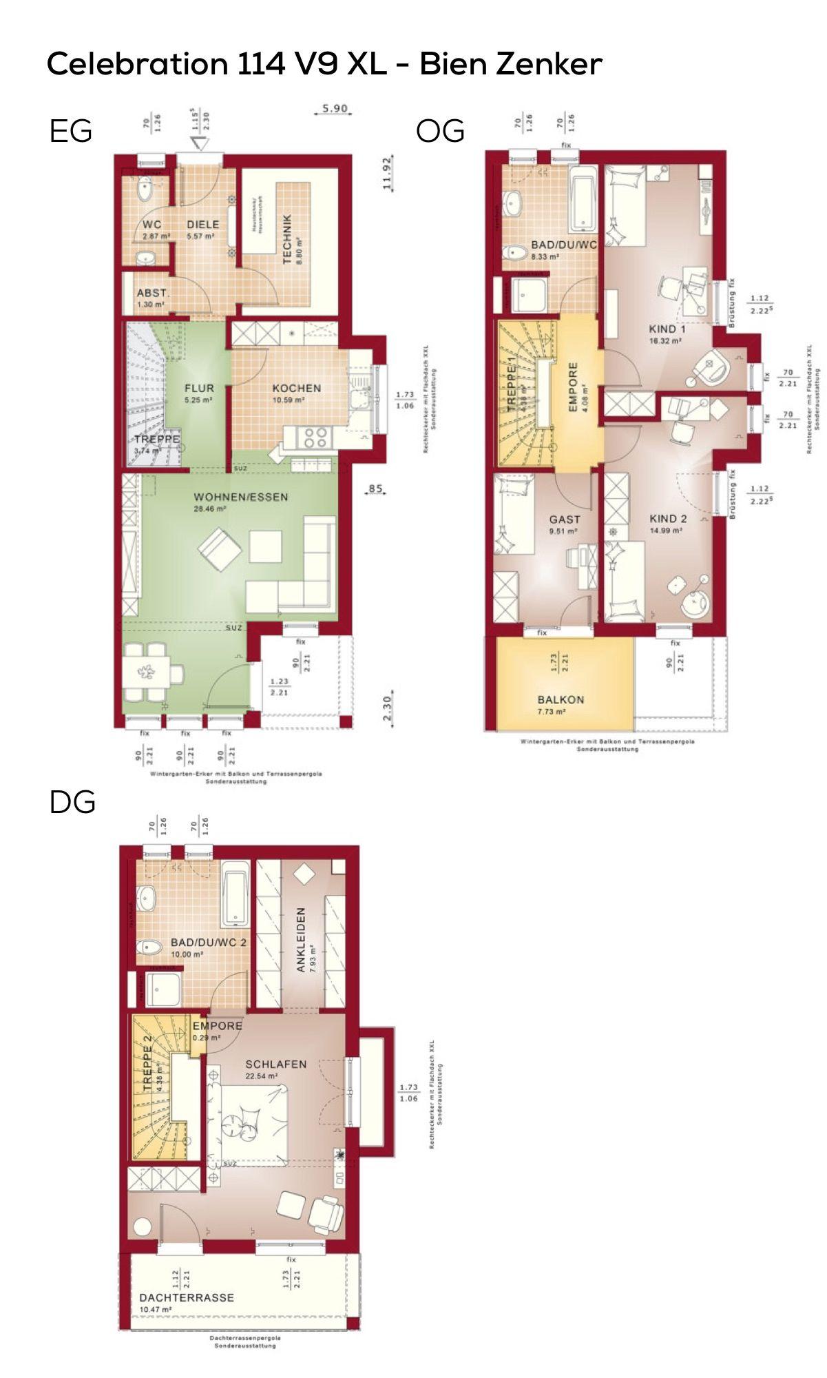 Grundriss Doppelhaushälfte schmal mit Flachdach