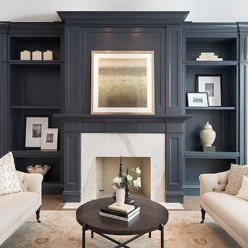 Gray Living Room Built Ins Transitional