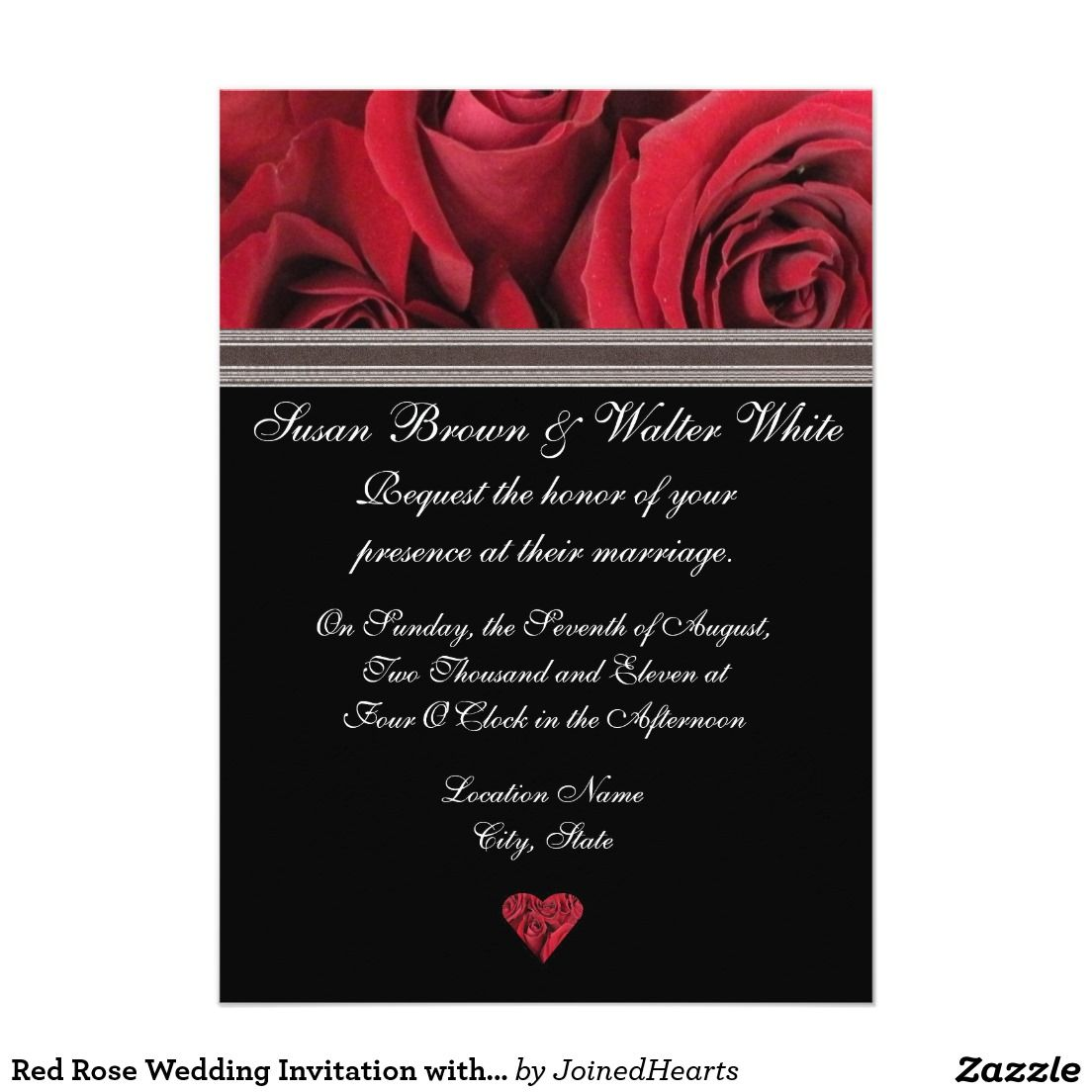 Red Rose Wedding Invitation with Gray Ribbon | Wedding Stuff ...
