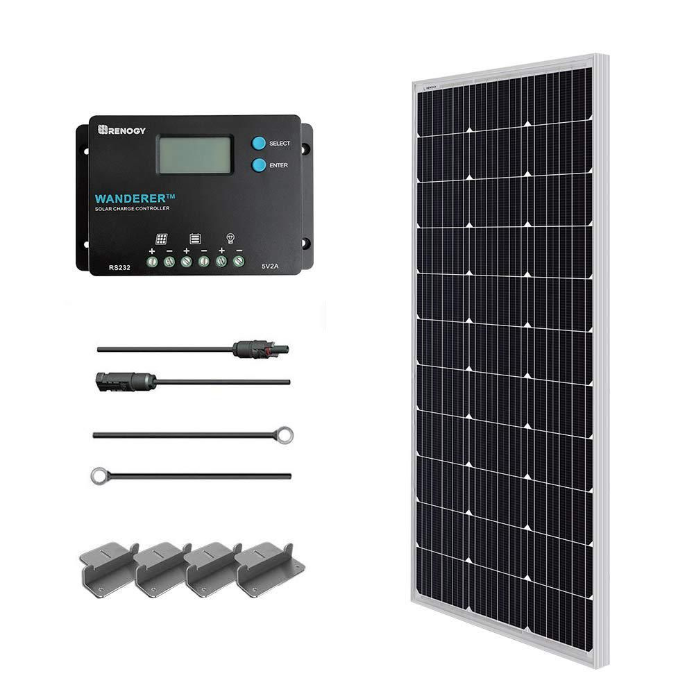 This Renogy Monocrystalline Solar Panel Starter Kit With Wanderer Charger Controller Is Ideal For Off Grid Application In 2020 Solar Heating Solar Kit Solar Panel Kits