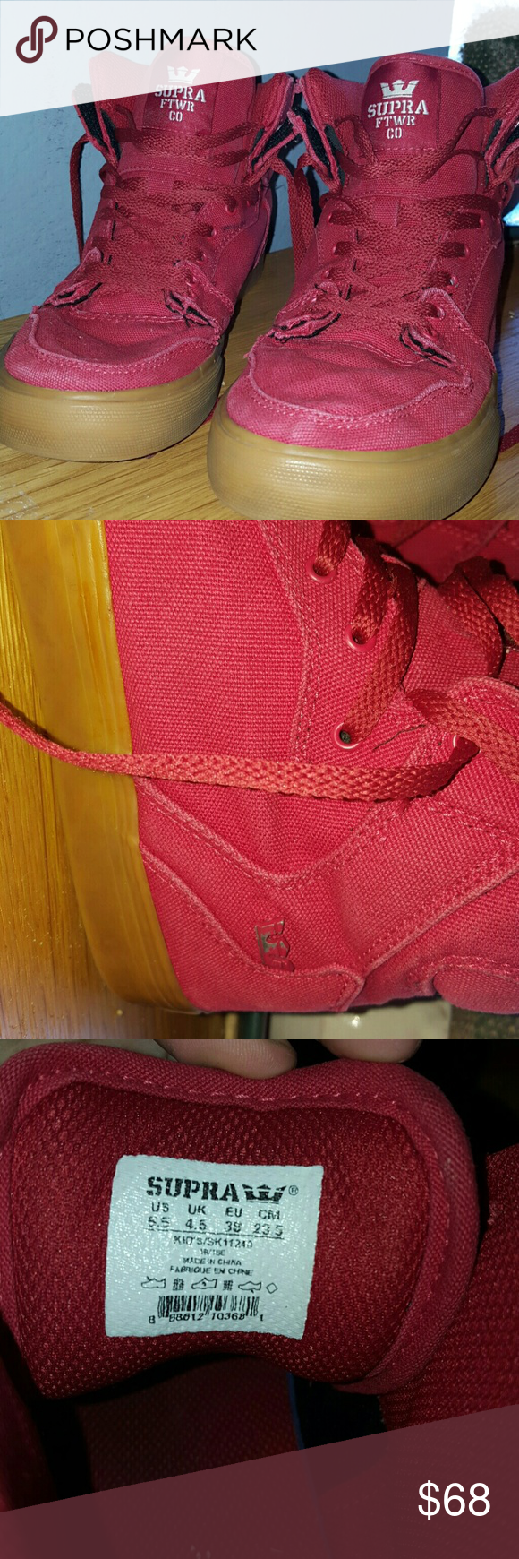 Red Supras No stains but does have a few scratches on the metal logo on the side of the shoe, but overall in a good condition. 5.5 in men. Please ask if more detailed pictures are needed. Supra Shoes Sneakers