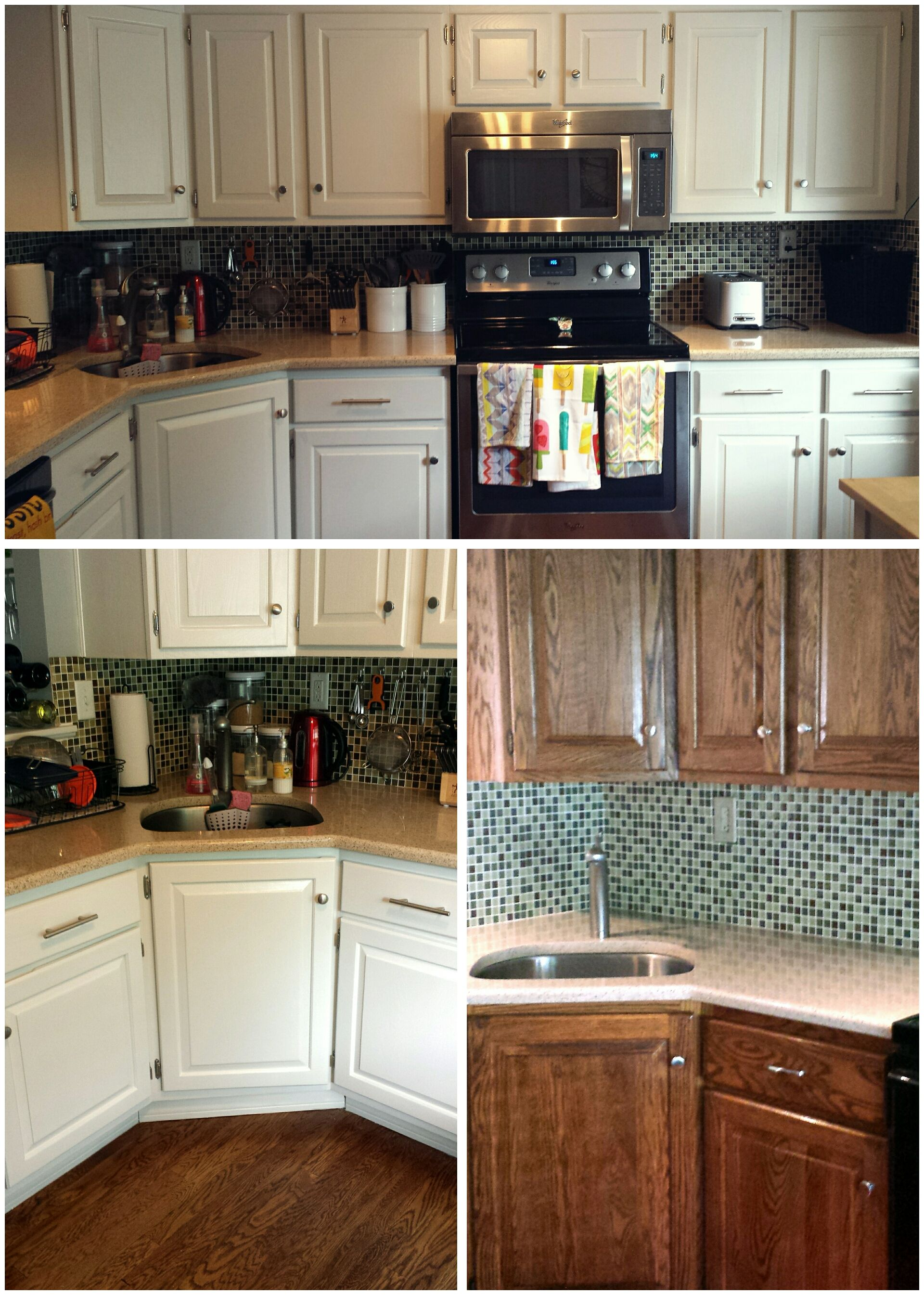 Wood Kitchen Cabinet Makeover From Stained Wood To Origami White Sherwin Williams Kitchen Design Kitchen Cabinets Makeover Kitchen Cabinet Design
